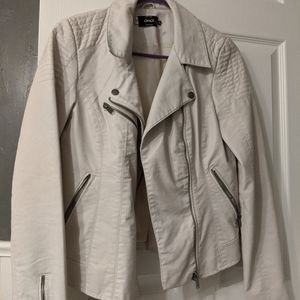 White Faux Leather Moto Jacket